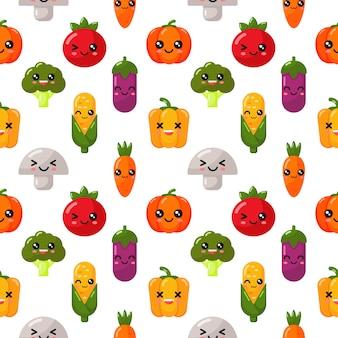 分離されたシームレスパターンかわいい野菜