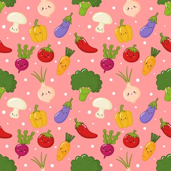 Seamless pattern kawaii vegetable on pink