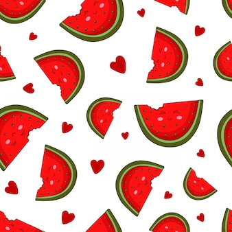 Seamless pattern - kawaii watermelon slices, hearts on white