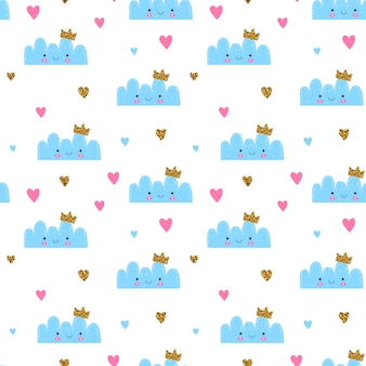 Seamless pattern for kids and baby. nursery cute cloud with glitter crown and hearts. blue, pink and yellow colors.