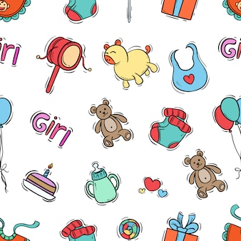 Seamless pattern of kids icons with colored hand drawn style