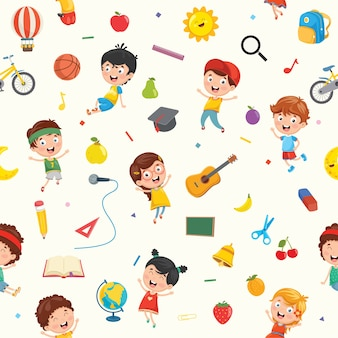 Seamless pattern of kids and objects
