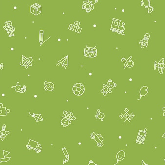Seamless pattern of kids toys. baby background, vector illustration for boy and girl. fabric design from line icon.