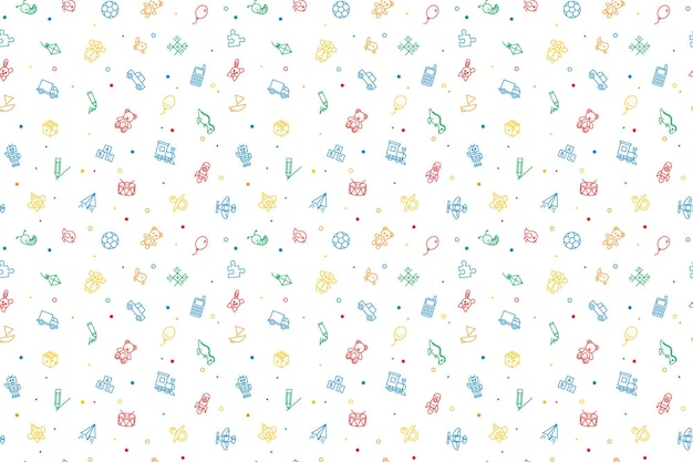 Seamless pattern of kids toys. baby background, vector illustration.