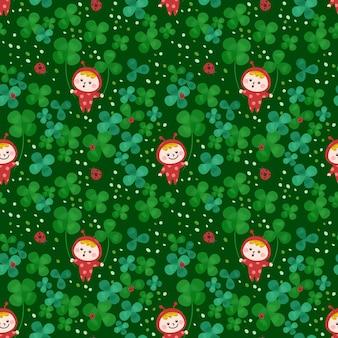 Seamless pattern kids wear ladybug dress on clover leaf