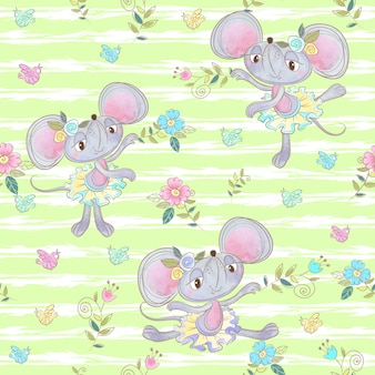 Seamless pattern for kids with cute foxes ballerinas.