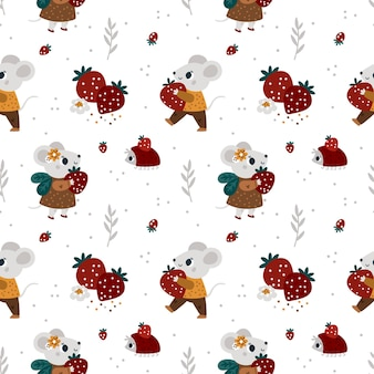 Seamless pattern for kids with cute mouse fruits festive pattern with baby animals