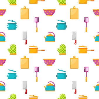 Seamless pattern kitchen appliances and kitchenware icons set isolate on white