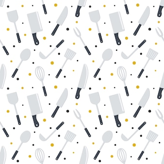 Seamless pattern kitchen cooking tools