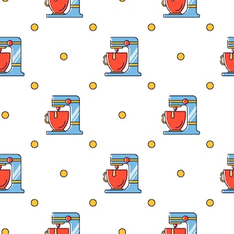 Seamless pattern kitchen electric appliances for cooking
