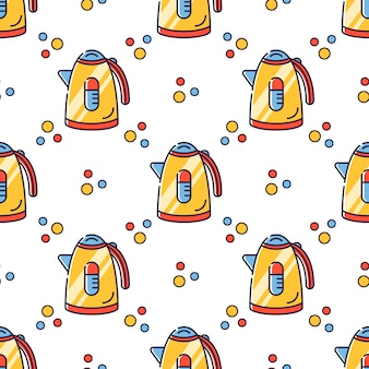Seamless pattern kitchen electric appliances