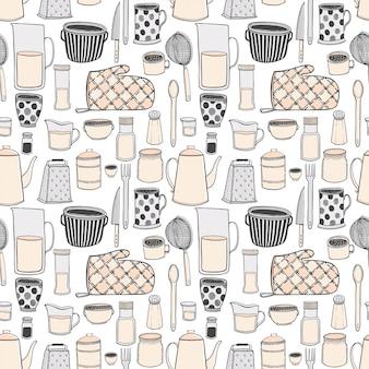 Seamless pattern of kitchenware and utensils hand drawn illustrations.