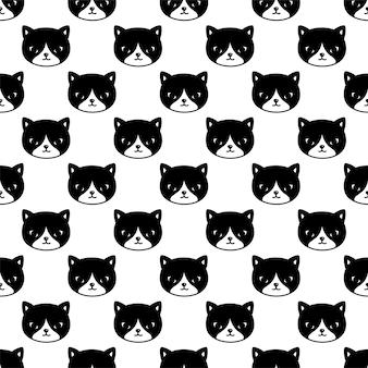 Seamless pattern kitten calico cartoon