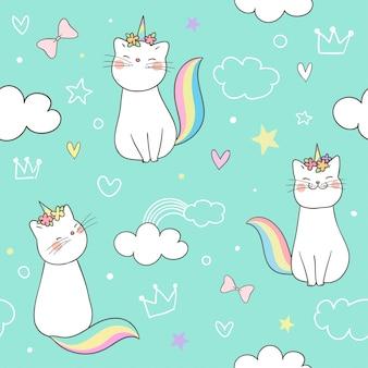 パステル調のシームレスパターンキティ猫ユニコーン。