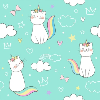 Seamless pattern kitty cat unicorn on pastel.
