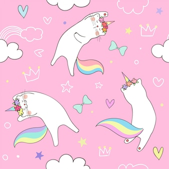Seamless pattern kitty cat unicorn on sweet pastel