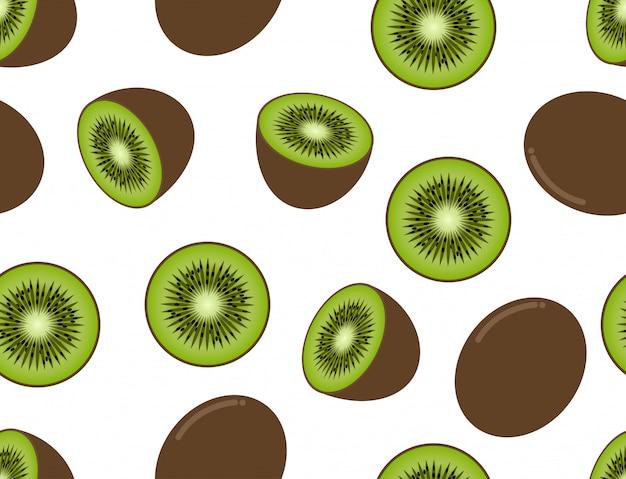 Seamless pattern of kiwi fruit