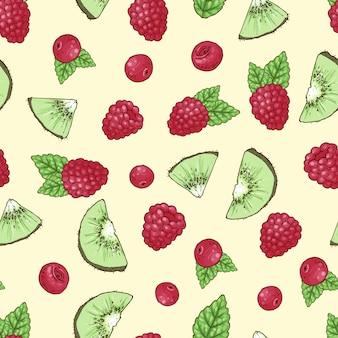 Seamless pattern kiwi raspberry cherry