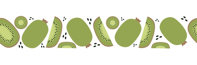 Seamless pattern of kiwi, trendy plant, fabric in flat style