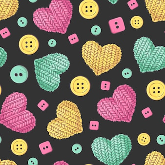Seamless pattern knitting buttons heart.