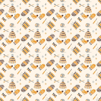 Seamless pattern on a knitting theme, brown things