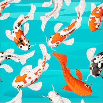 Seamless pattern of koi carp japanese symbol of luck fortune prosperity red and black dotted koi carp cartoon flat vector illustration on water background.