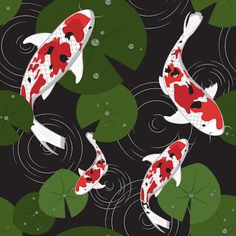 シームレスパターン鯉
