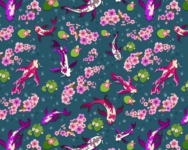 완벽 한 패턴, 잉어 물고기 연못 잉어, 벚꽃