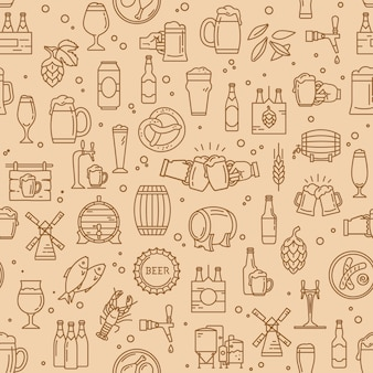 Seamless pattern of kraft beer icons in modern style