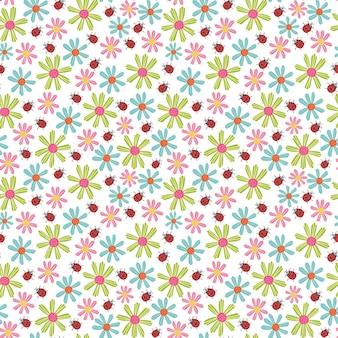 Seamless pattern ladybug flowers
