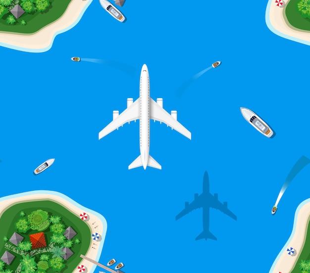 レクリエーションのためのシームレスなパターンの風景。ヘリコプターの海の景色から島の楽園の平面図。休暇のための島。都市のある海洋地図