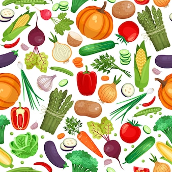 Seamless pattern of large amount of vegetables on white background
