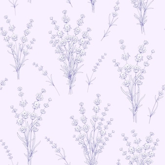 Seamless pattern of lavender flowers.