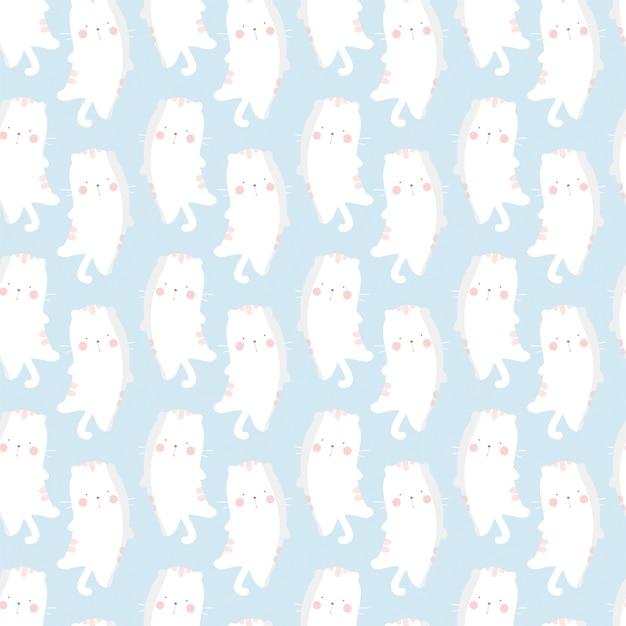 Seamless pattern lazy cat , cute animal pattern