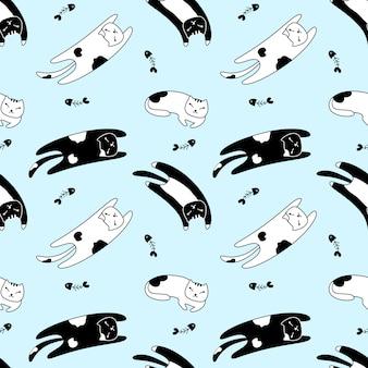Seamless pattern lazy cat l