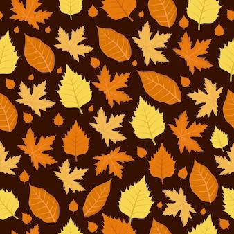 Seamless pattern leaf falling autumn