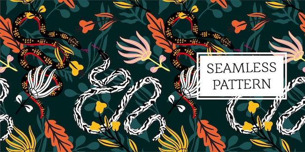 완벽 한 패턴 잎과 뱀 유행 스타일