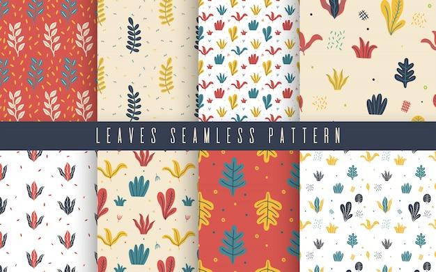 Seamless pattern leaves flat set.