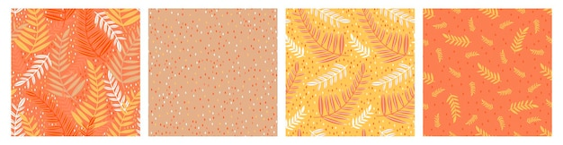 Seamless pattern leaves hand drawn set.