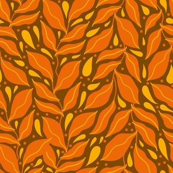 Seamless pattern leaves hand drawn.