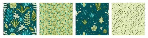 Seamless pattern leaves plant green