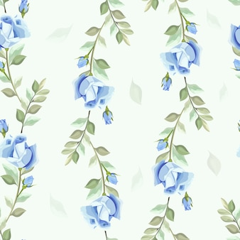 Seamless pattern leaves and rose vector wallpaper