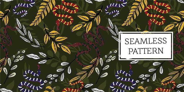 완벽 한 패턴 나뭇잎 빈티지 유행 스타일