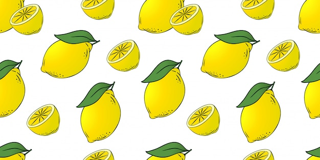 Seamless pattern of lemons with leaves
