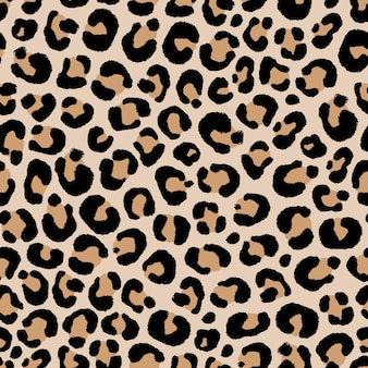 Seamless pattern of leopard skin in hand drawing style illustration