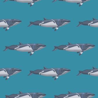 Бесшовный фон меньший rorqual на синем фоне. шаблон мультипликационного персонажа океана для ткани. повторяющаяся геометрическая текстура с морскими китообразными. дизайн для любых целей. векторная иллюстрация.
