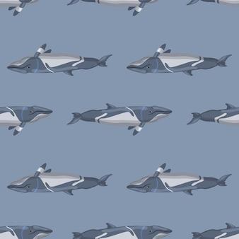 회색 배경에 원활한 패턴 덜 rorqual입니다. 직물에 대 한 바다의 만화 캐릭터의 템플릿입니다. 해양 고래류로 반복되는 반전 텍스처. 모든 목적을 위한 디자인. 벡터 일러스트 레이 션.