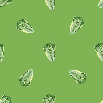 明るい緑の背景にシームレスパターンレタスロマーノ。サラダとミニマリズムの質感。生地のランダムな植物テンプレート。デザインベクトルイラスト。