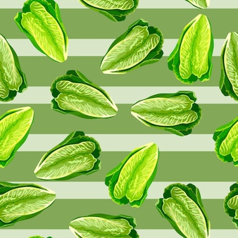 ストライプグリーンの背景にシームレスパターンレタスロマーノ。サラダとの美しい食感。生地のランダムな植物テンプレート。デザインベクトルイラスト。