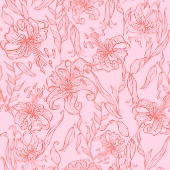 Seamless pattern. lilies on pink wallpaper